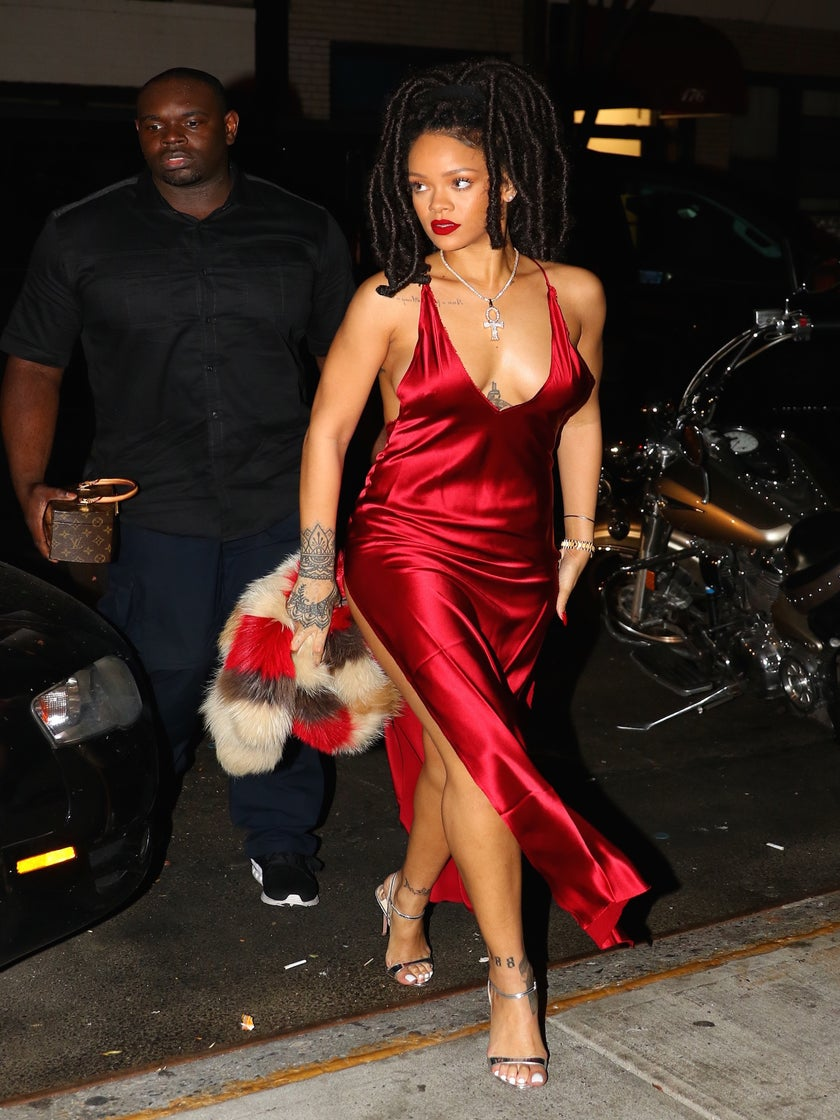 Rihanna Delivers Date Night Inspiration in Stunning Red Slip Dress